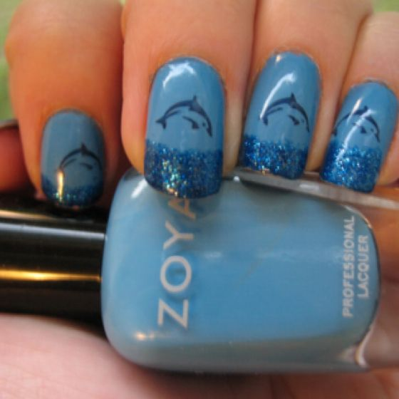 Cute and simple dolphin nails!