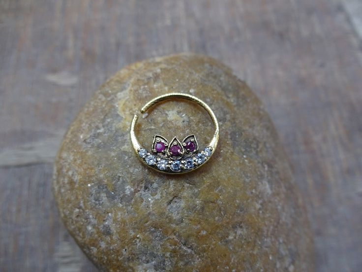 Stone Septum Ring, Septum Piercing, Brass Septum, Septum for Piercing, 16g Septum,Indian Septum, Nose Jewelry, Faux Septum, Nose Cuff, Helix by TheEthnicJewels on Etsy