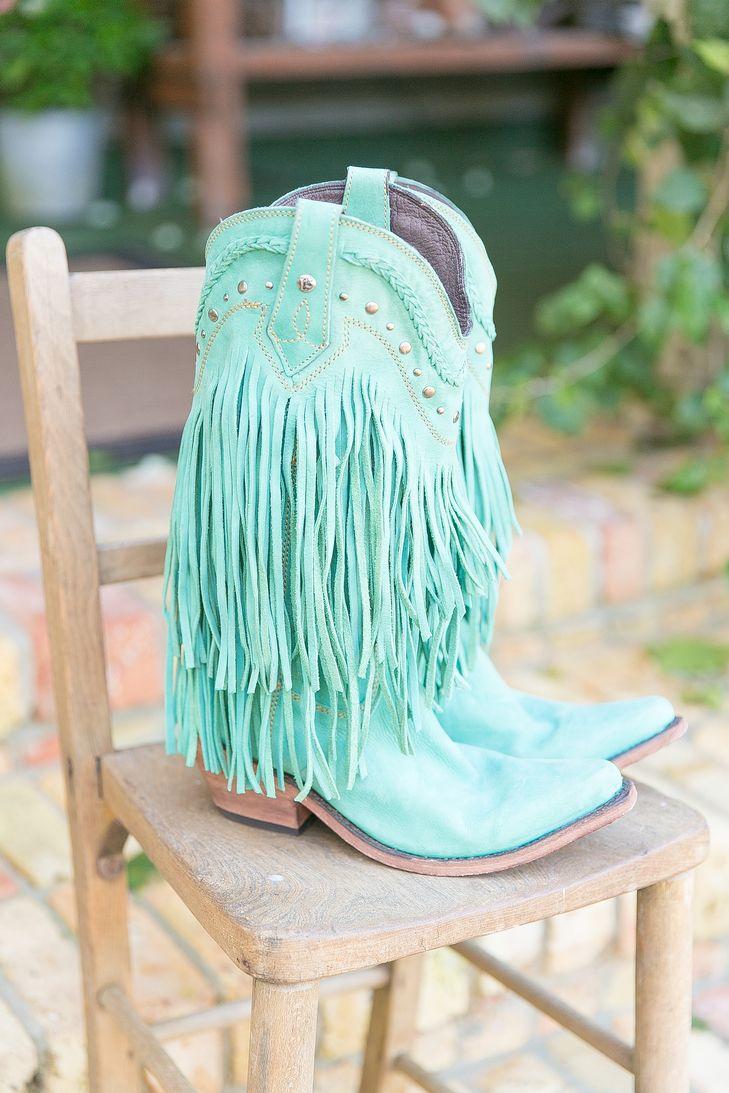 Turquoise Cowboy Boots with Suede Fringe from Liberty Black   Isola Farms – Groveland, Florida   RW Events https://www.theknot.com/marketplace/rw-events-orlando-fl-487849   Amalie Orrange Photography https://www.theknot.com/marketplace/amalie-orrange-photography-orlando-fl-445630