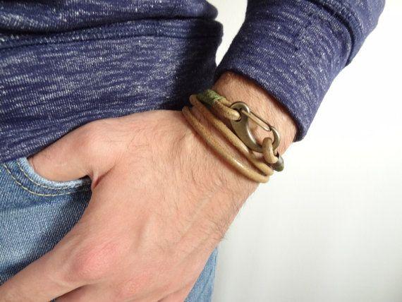 Men's Natural Leather Bracelet, Leather Necklace, Natural Leather Wrap Bracelet, Bronze Hook Bracelet, Nautical Bracelet, Gifts for Husband