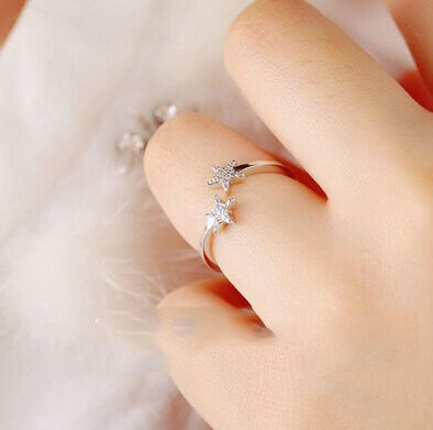 925 Sterling Silver CZ Diamond Wedding Rings For Women Adjustable Double Little Star Ring Sterling Silver Jewelry anillos C142