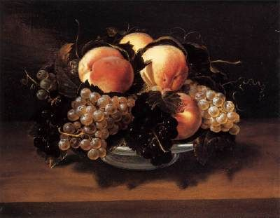 NUVOLONE, Panfilo (b. 1581, Cremona, d. 1651, Milano)   Click!	 Maiolica Bowl with Peaches, Grapes, and Bees  1627-29 Oil on panel, 35 x 43 cm Silvano Lodi Collection, Campione  In this version of Panfilo Nuvolone's celebrated composition of grapes and peaches, the succulent fruit, floating against a dark background, is arranged in a maiolica bowl and seen from a particularly high viewpoint. A mysterious light shines from above, casting a shadow around the bowl and not just to one side, as…