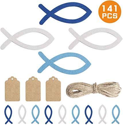 Yunde 120 Stãcke Holz Fisch Deko Fische Streudeko Taufe Deko