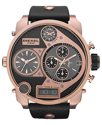 Diesel Watch, Analog Digital Chronograph Black Leather Strap 57mm DZ7261 - First @ Macy's! - Diesel - Jewelry & Watches - Macy's