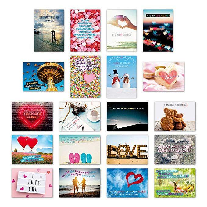 ewtshop® 20er Postkarten Set Liebe mit 20 Sprüchen /& Zitaten Grußkarten
