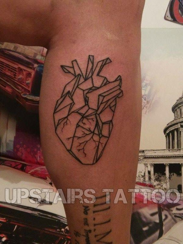 #tattoo #heart #geometric #lines #calf by Mihai Bizduianu
