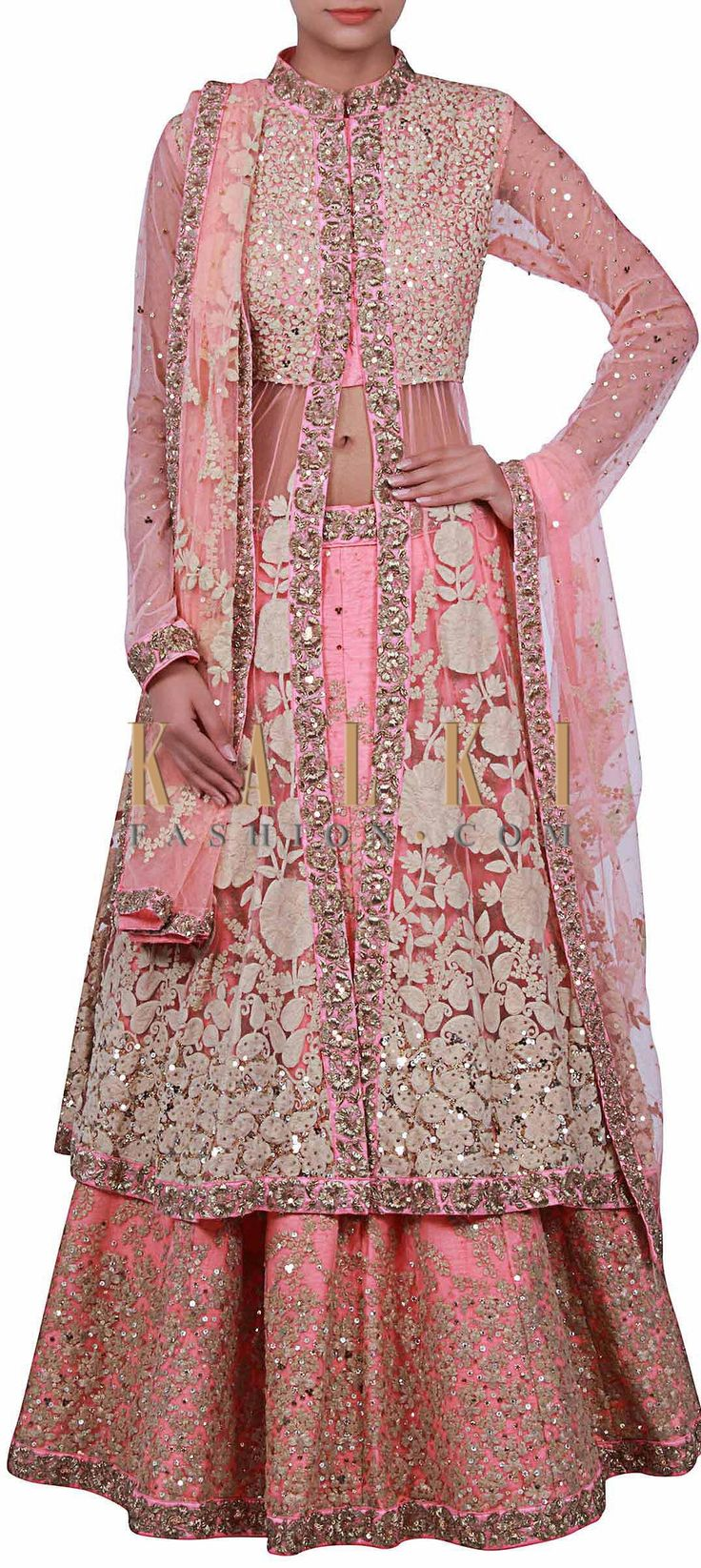 Buy Online from the link below. We ship worldwide (Free Shipping over US$100) http://www.kalkifashion.com/pink-long-jacket-lehenga-enhanced-in-thread-embroidery-featuring-in-only-on-kalki.html