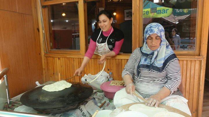 Turkish Women making gozleme