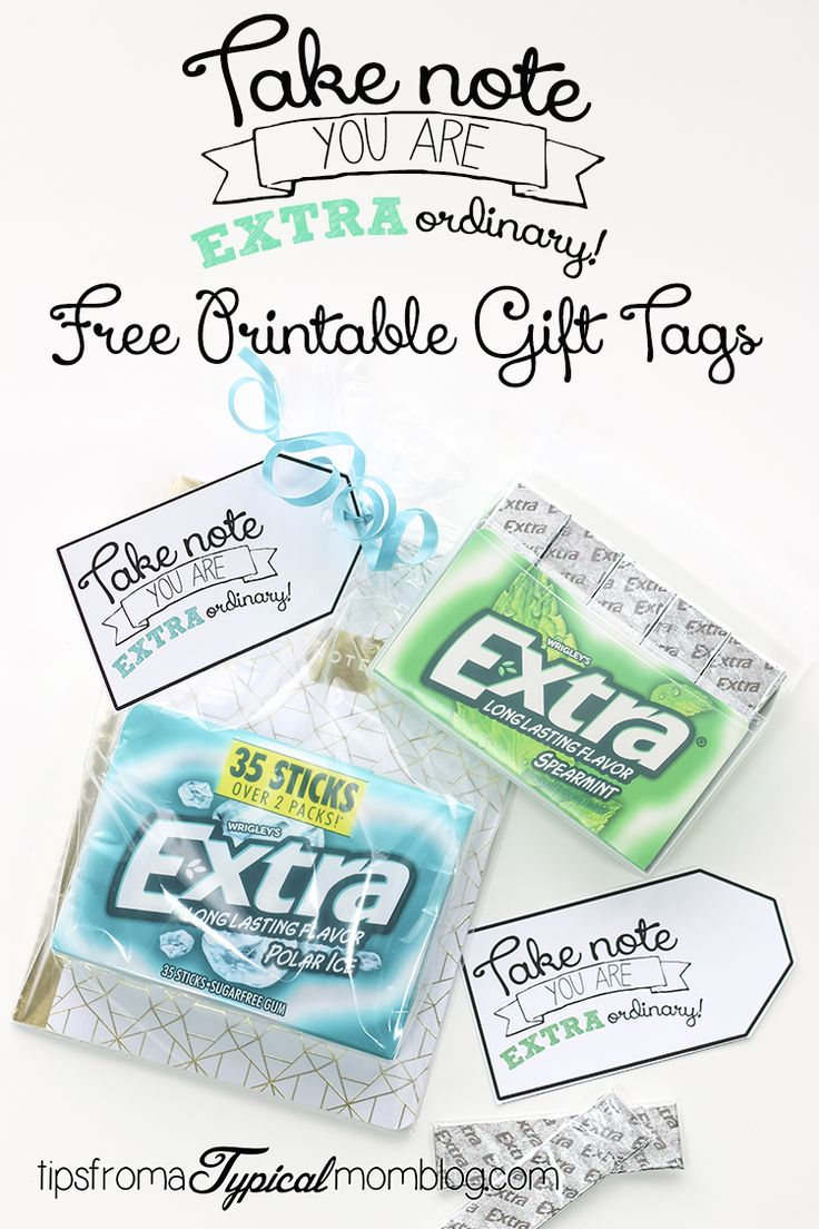 Take Note You Are Extra Ordinary Extra Gum Gift tags