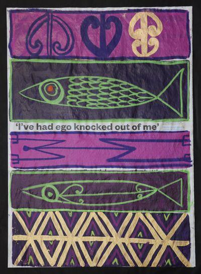 Tracey Tawhiao Kura Gallery Maori Art Design New Zealand Original Painting Newspaper Knocked out