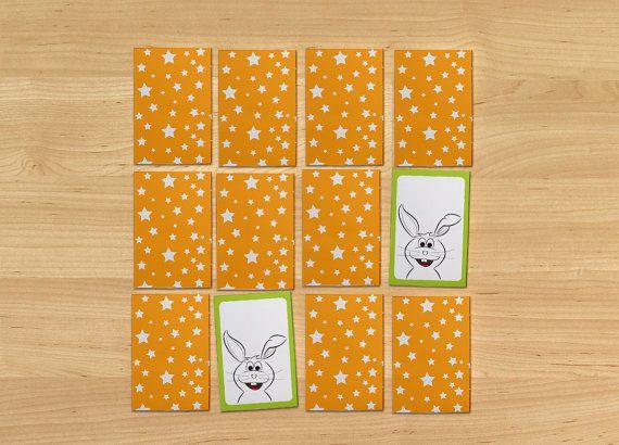 Easter bunnies memory game card game flash cards by OrangeKiteLabs