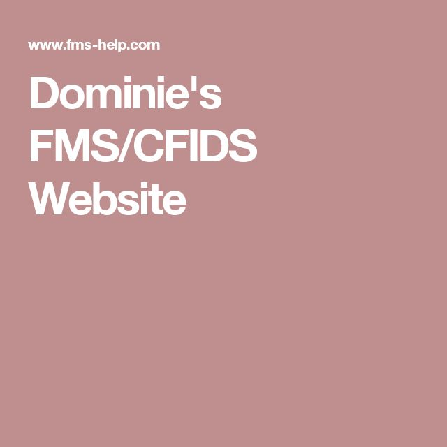 Dominie's FMS/CFIDS Website