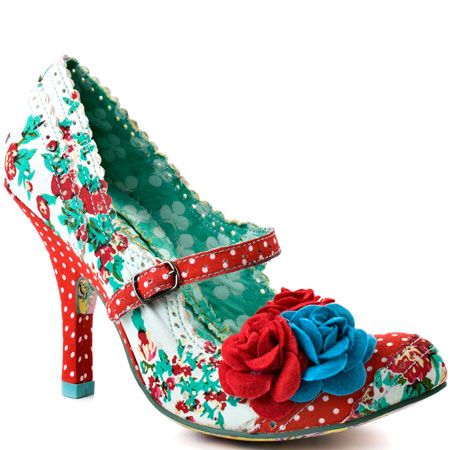 Crazy but they make me happy! Irregular Choice   Cortesan Floral Too - Red