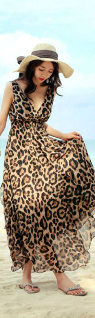 as comfortable as sweats but so much more fun! Leopard Print Maxi Dress, will wear with sandles, white tank top for coverge, and a tiffany blue pendant. jean jacket for chill