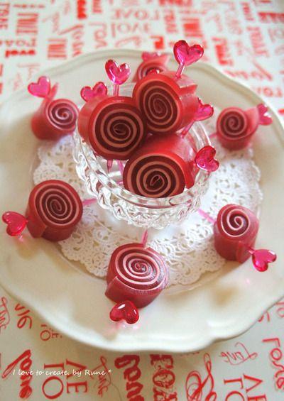 Happy Valentain's Day!!!のお返しに☆ラズベリー&マシュマロのスパイラルグミ
