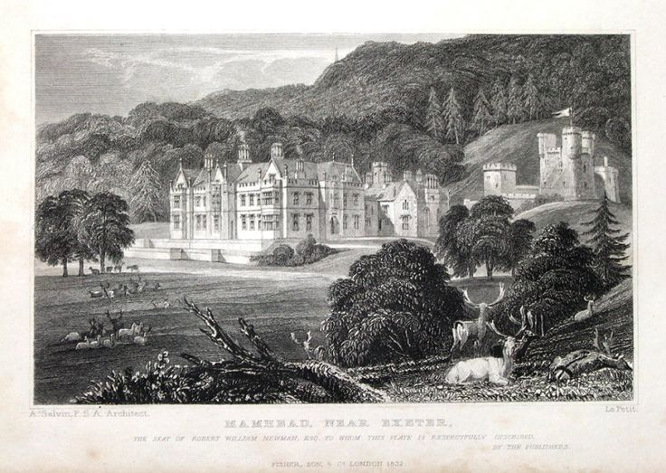 MAMHEAD NEAR EXETER DEVON Seat of Robert William Newman Engraved by W Le Petit after A Salvin Architect and and published 1832 by Fisher Son in