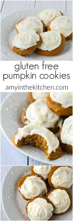 gluten free pumpkin cookies from http://amyinthekitchen.com Use egg substitute These are the BEST GF cookies! Not sandy or grainy at all, very moist. The kids loved them!!
