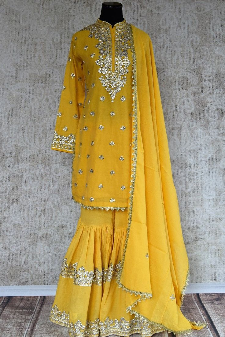 501372- Yellow Silk Sharara Suit and Dupatta with Gotta Patti Embroidery