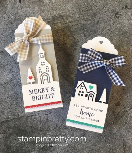 Learn how to create simple holiday tags using Stampin' Up! Hearts Come Home & Hometown Greetings - Mary Fish StampinUp