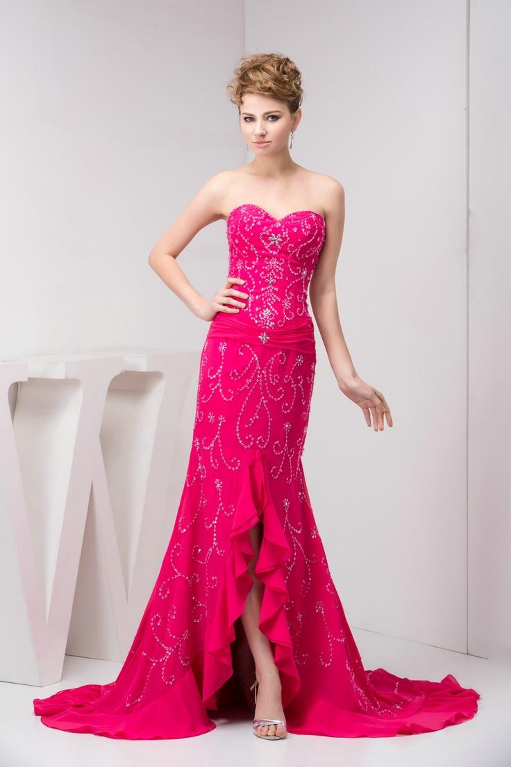 Hanmade Sequins Mermaid Sweetheart Fuschia Long Prom Dresses £126