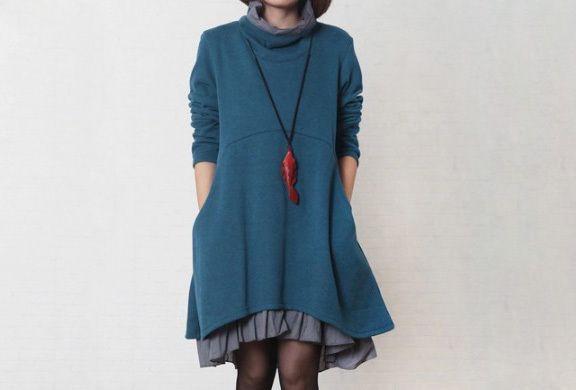 Vrouwen Blauw Twee-layer coltrui jurk (DB201449)  van Deboy2000 op DaWanda.com