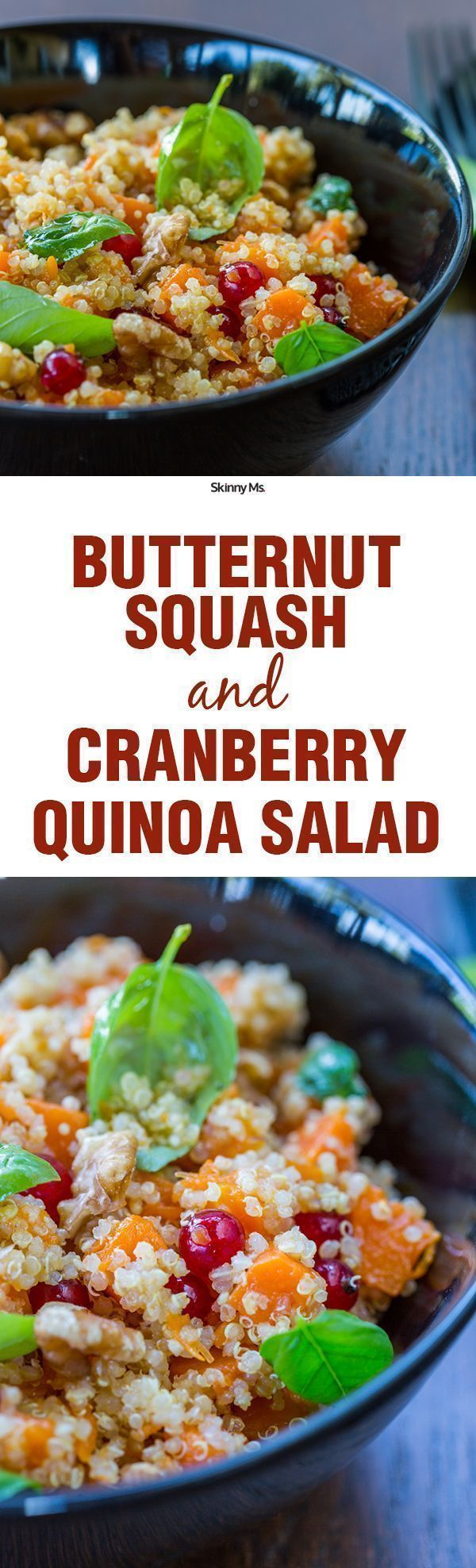This salad is loaded with vitamins and minerals, and it satiates my fall time cravings. This is the Butternut Squash and Cranberry Quinoa Salad. This is going to be the salad on my Thanksgiving table.