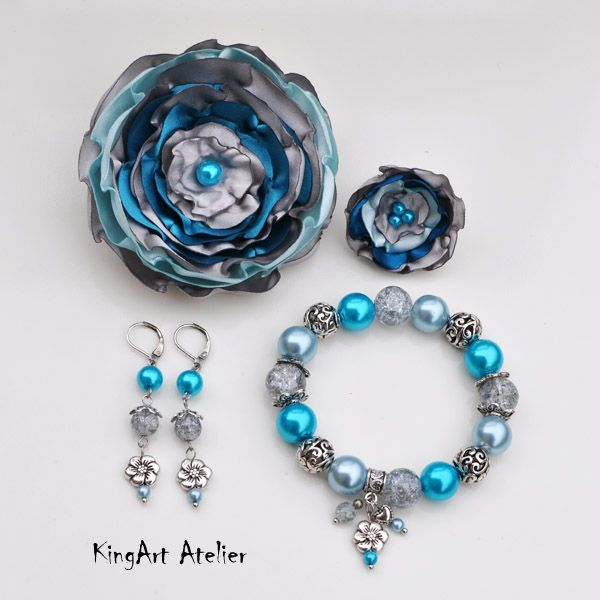 Silver & turquoise handmade set by KingArt Atelier