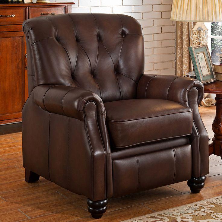 Amax carolina top grain leather pushback recliner