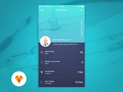 Profile Page Day72 My UI/UX Free Sketch App Challenge