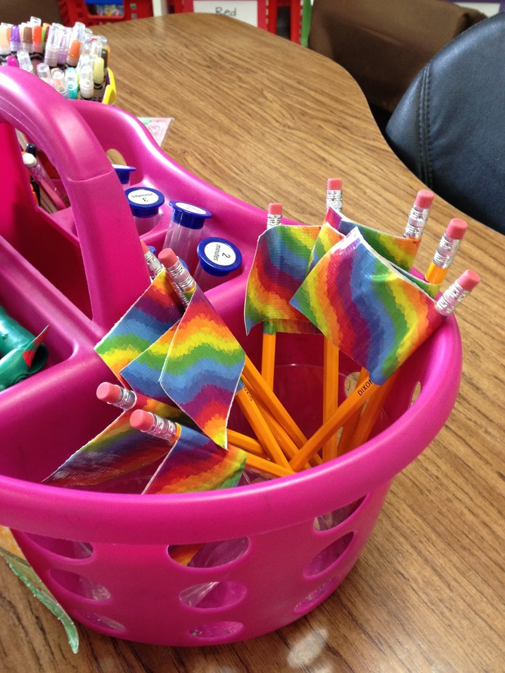 """Duct tape flags on pencils -for the """"borrowers"""""""