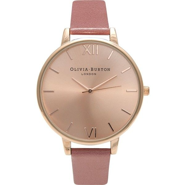 Olivia Burton OB15BD78 rose gold-plated watch ($84) ❤ liked on Polyvore featuring jewelry, watches, roman numeral jewelry, oversized watches, vintage style watches, rose gold tone jewelry and olivia burton