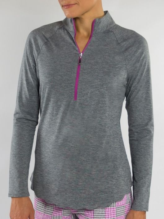 Love Golf Shirts? Here's our  SANGRIA (Graphite) JoFit Ladies & Plus Size Scallop Long Sleeve Mock Golf Shirt! Find plenty of Golf Outfits here at #lorisgolfshoppe
