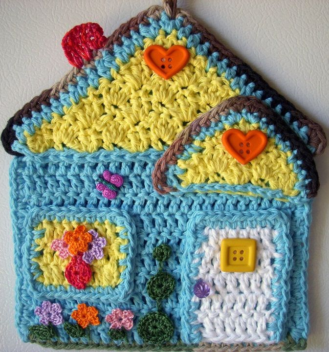 Colorful crocheted potholder.