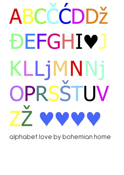 Alphabet Croatian poster print