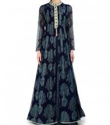 Buy Navy blue printed georgette semi stitched salwar with dupatta anarkali-salwar-kameez online