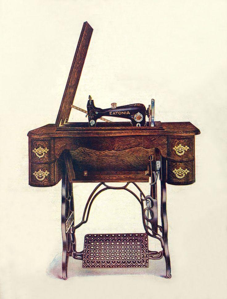 Винтажные иллюстрации со швейными машинами из каталогов за 1907 и 1920 гг.