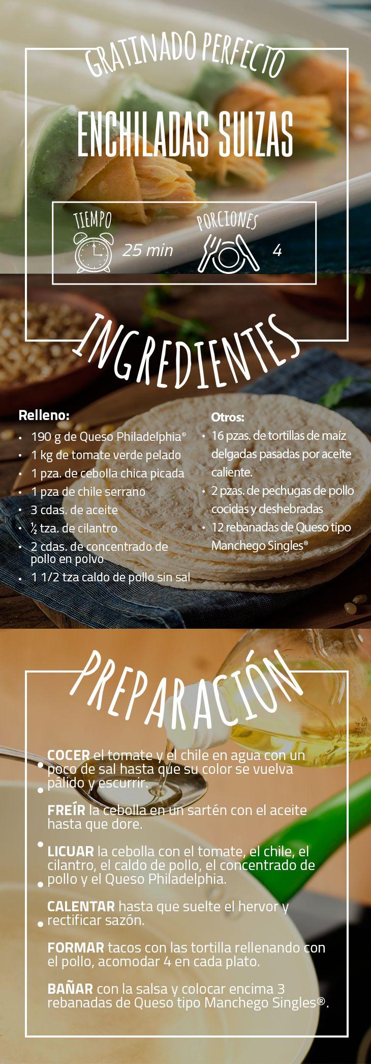 Para los amantes de las enchiladas, les mostramos una deliciosa receta que no se podrán resistir. #EnchiladasSuizas #tortilla #QuesoPhiladelphia #Salsa #Tomate #Queso #Receta