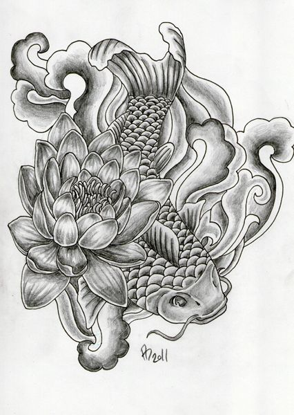 Japanese water tattoo designs floral japanese koi lily for Japan koi wild