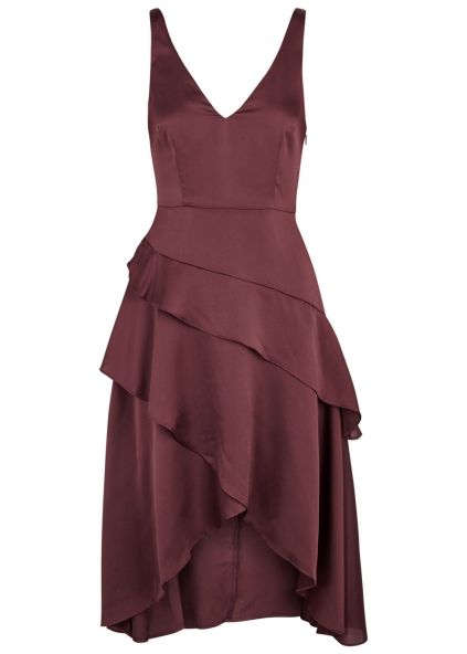 Finders Keepers Seasons plum tiered satin dress - Harvey Nichols