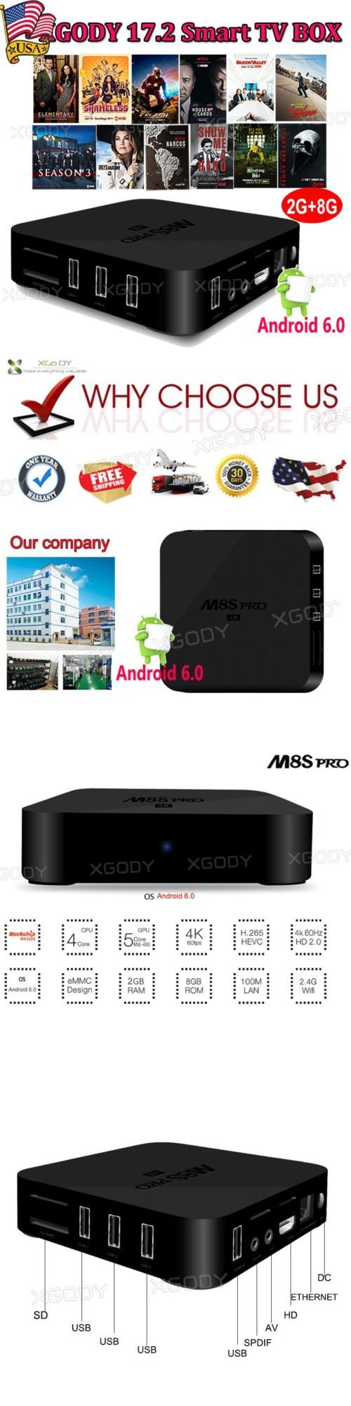 Internet and Media Streamers: Xgody Latest 17.2 Quad Core Android6.0 Tv Box M8s Pro Hdmi Media 4K Movies Wifi -> BUY IT NOW ONLY: $35.97 on eBay!