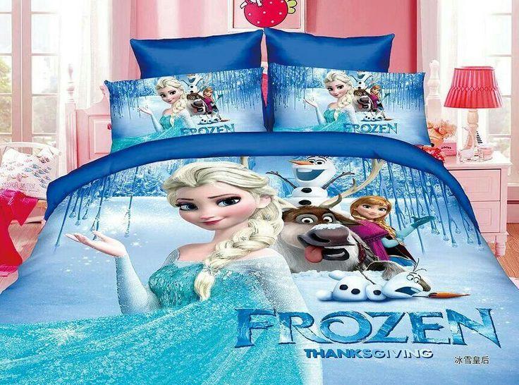 Frozen Elsa Anna Juegos de cama Para Niños Niñas dormitorio decoración solo tamaño doble ropa de cama edredón fundas de edredón de 3 unid Azules Color