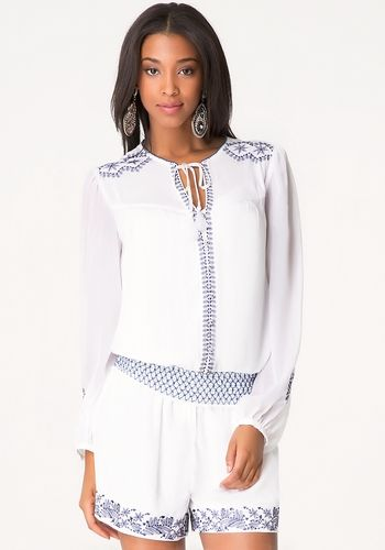 Smocked Peasant Top from bebe on Catalog Spree