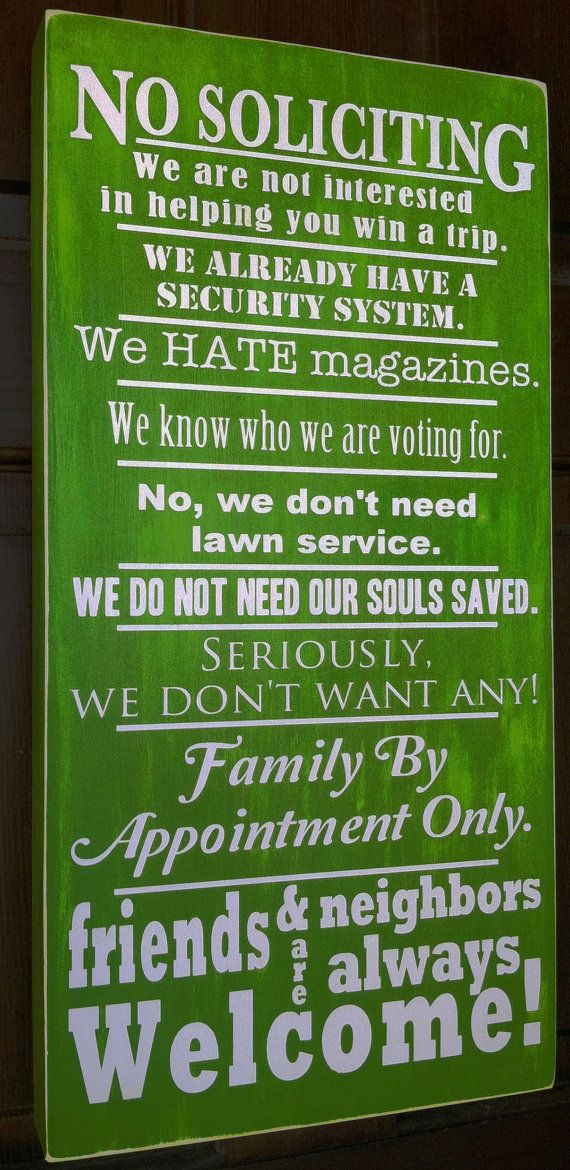 Funny No Soliciting Sign Welcome Sign by CamillesVinylDesigns