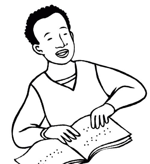 The Boy Disabilities Blind Coloring Page