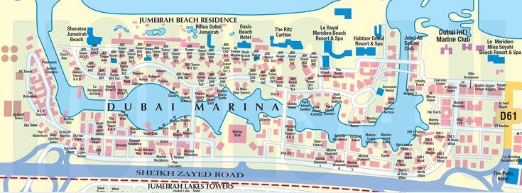 dubai-marina-district-mapjpg (1300×630) EAU Les Voyages Pinterest - fresh world map building in dubai
