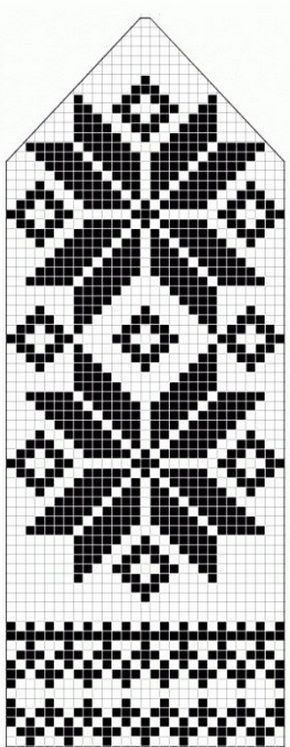 northern star / snowflake motif ~~ knitted mitten pattern ~~ also filet crochet