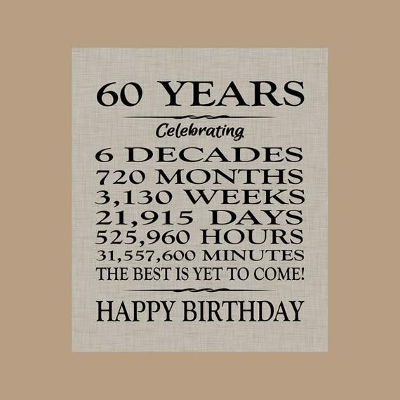 Sayings For 60th Birthday Card: 60 Birthday Sign, Sixty Birthday Gift, Sixty Birthday
