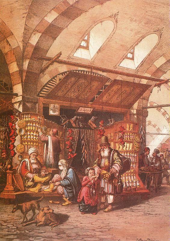 Scene at the Grand Bazaar of Istanbul.BRINDESI, Jean. Souvenirs de Constantinople, Paris, [Imp. Lemercier, 1845]
