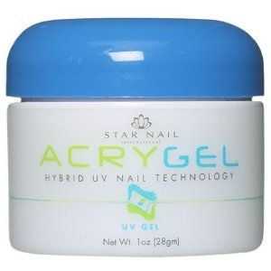 STAR NAIL AcryGel UV Gel Clear 1 oz. by Star Nail. $29.94. Odor Free. Hybrid UV Nail Technology. STAR NAIL AcryGel UV Gel Clear 1 oz. Hybrid UV Nail Technology Odor Free, specially formulated strengthening powder combined with AcryGel produces the strongest, cleanest, yet flexible and durable nails.