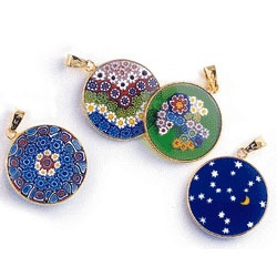 Venetian glass pendants, composed of millefiori ('millions of flowers' in Italian), a centuries-old method of glass making